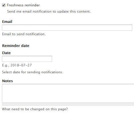 Screenshot of Freshness reminder fields:  Email, Date and Notes
