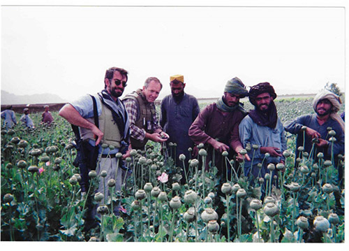 O'Hara in the poppy fields in Helmand, Afghanistan during his time as Section Chief for the Drug Enforcement Administration (DEA).