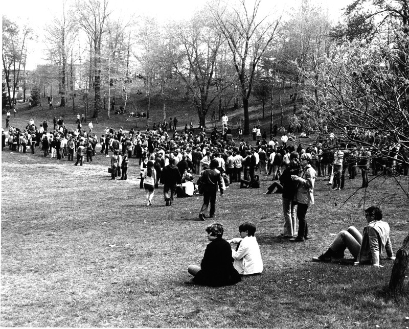 Kent State student protestors in the Commons on May 4 before the shooting