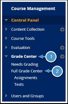 Grade Center menu expanded