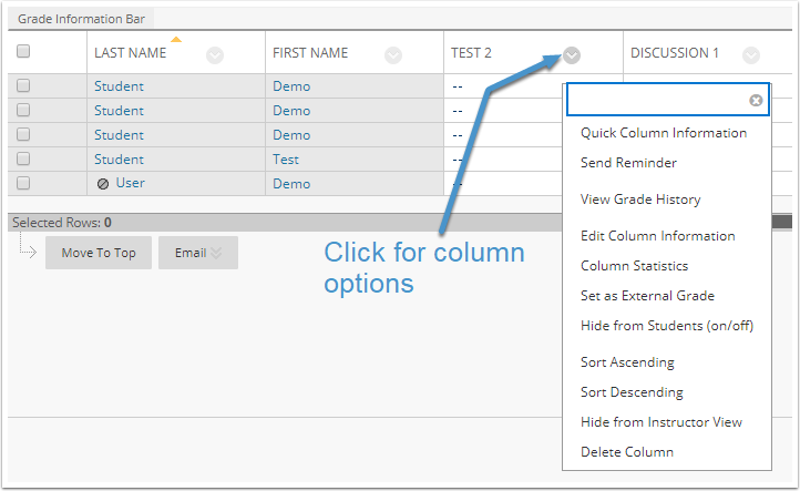 Column options menu