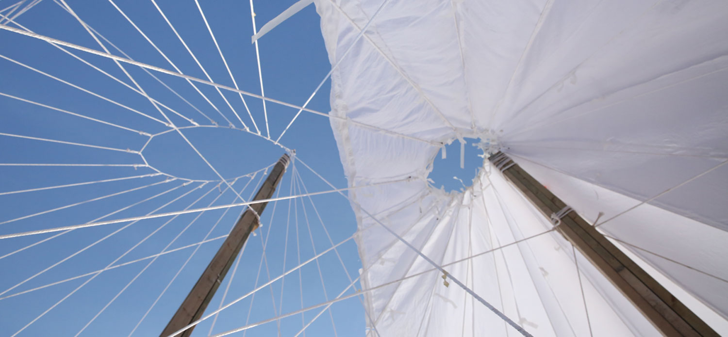 The poles are covered with fabric and sprayed with a water and cellulose mixture.