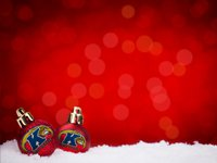 Red background with white snow and two Kent State University ornaments