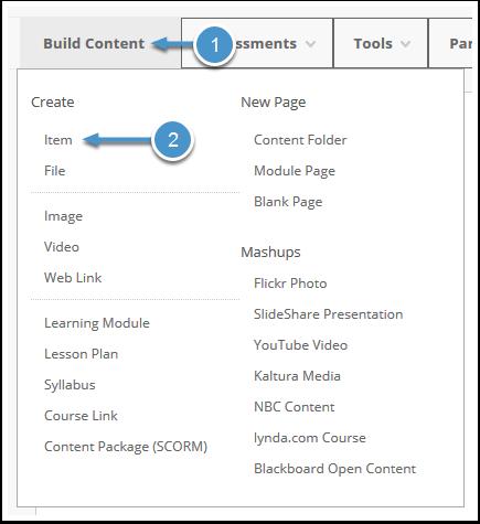 Build Content menu expanded