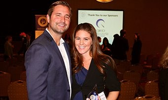 Kira S. Kittoe-Krivosh, '05 and her husband, Ryan Krivosh, '06 at the Cleveland Professional 20/30 Club Awards Ceremony on March 11, 2016