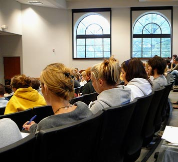 An introductory class in our main lecture hall, Lowry Room 143.