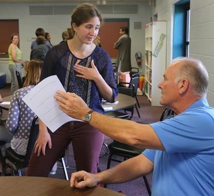 Liz Schmidt talks with Councilman Bruce Kirby