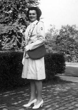 Mary Feran poses in her nurses uniform