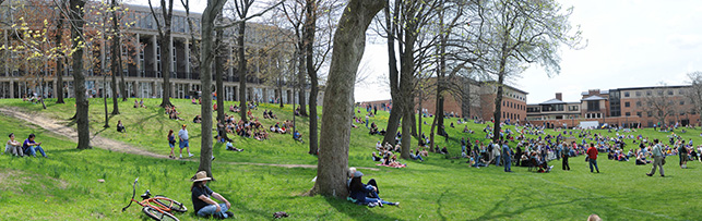 People sitting on the hill during the May 4 Commemoration