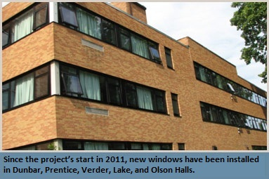 Since the project's start in 2011, new windows have been installed in Dunbar, Prentice, Verder, Lake, and Olson Halls