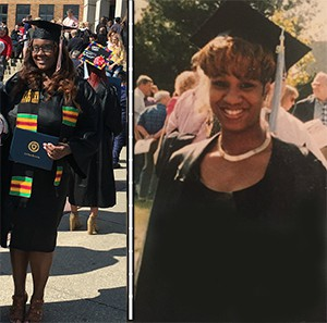 Chantel and her mother on their Kent State graduation days (2017 and 1994)
