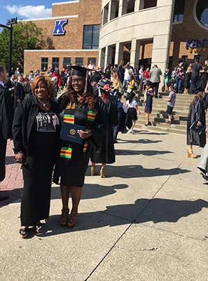 Chantel Owens, '17, and her mother, Heather Owens, '94, at Kent State's Commencement on May 13