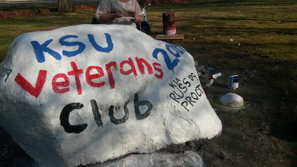 The rock at front campus painted for the KSU Veterans Club