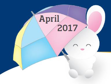 Bunny holding an umbrella that says April 2017 on it