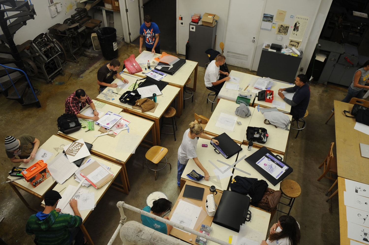 Students work on class projects in a classroom in the School of Art.