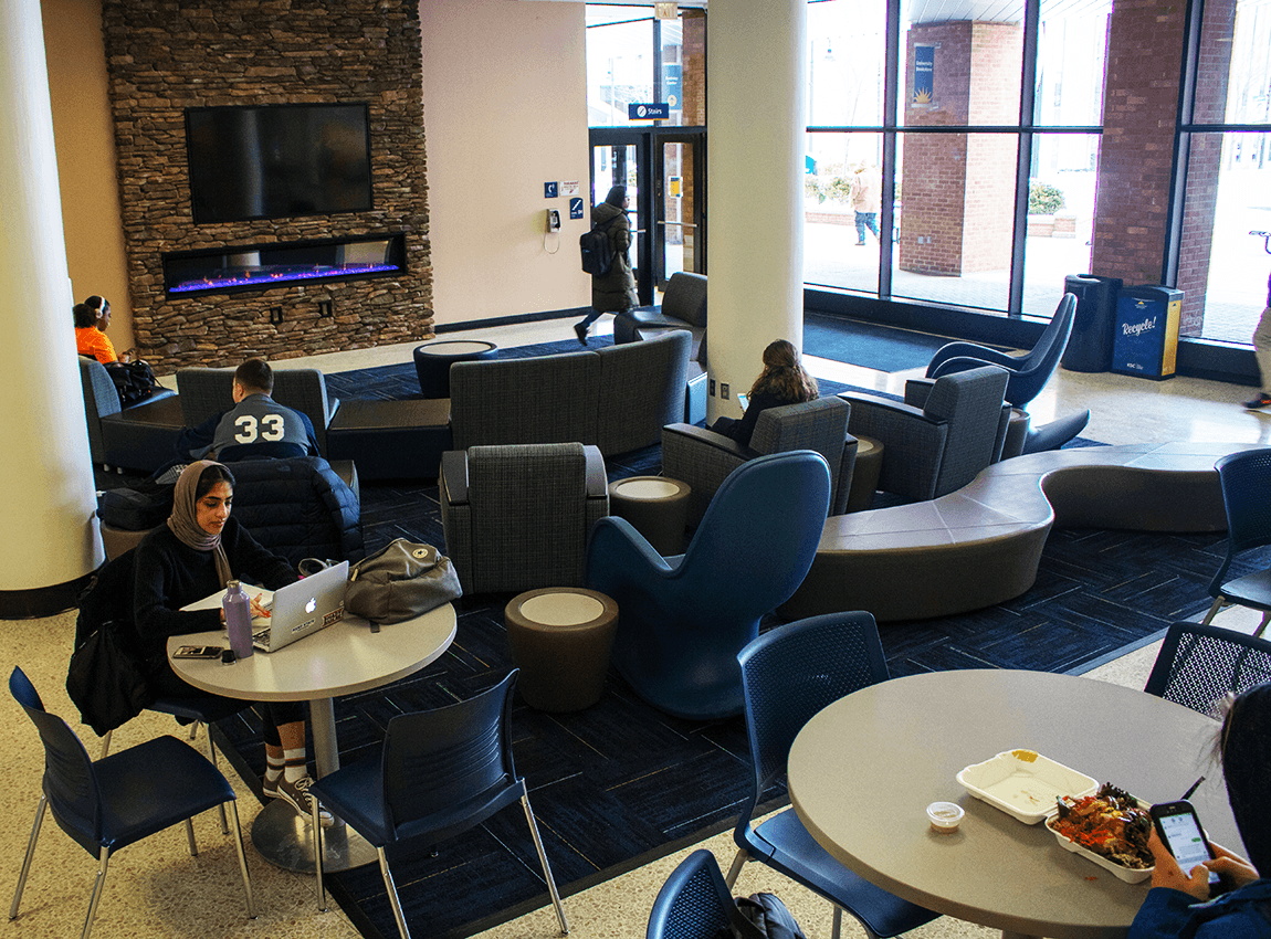 The fireplace lounge on the first floor of the student center is a great study spot!