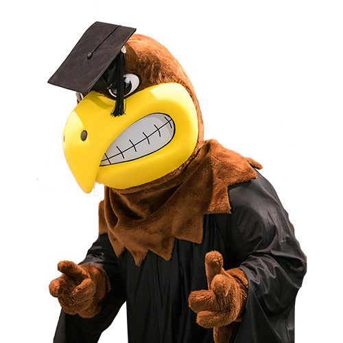 Mascot Flash in cap and gown