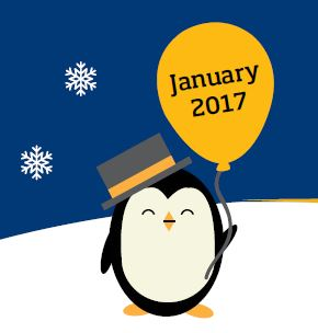 Penguin holding a balloon that says January 2017