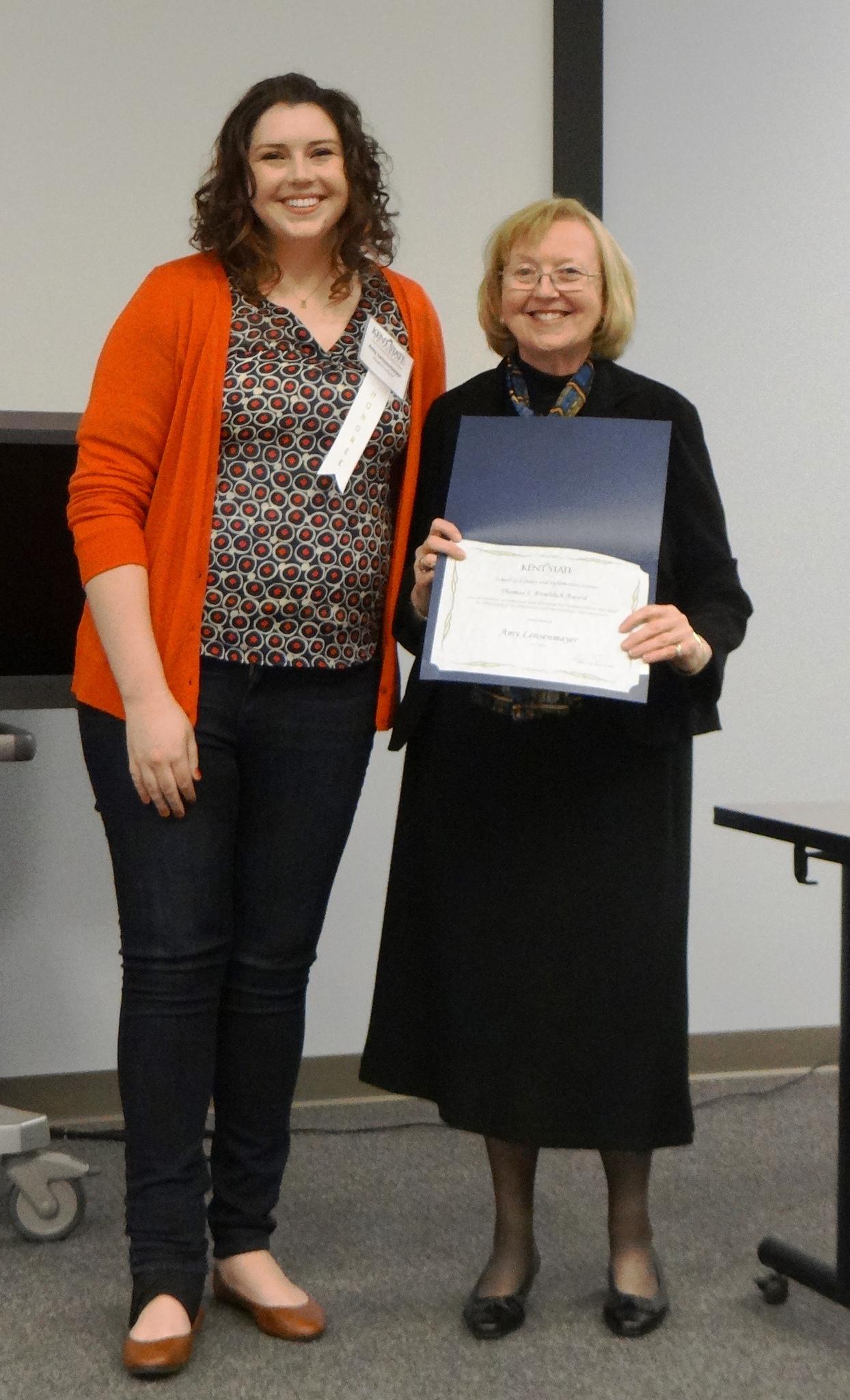 Amy Lensenmayer, winner of the Froehlich Award, with Nancy Lensenmayer, SLIS lecturer