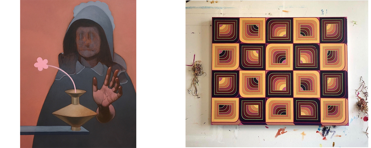 Paintings by graduate students, one figure with a flower and one abstract/geometric
