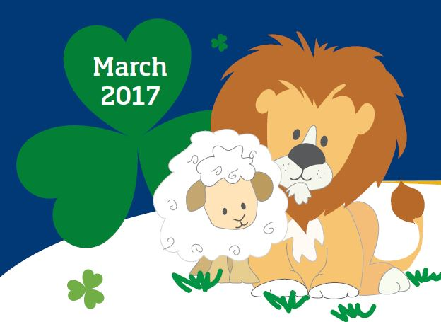 Lion and lamb in front if four-leaf clover that says March 2017