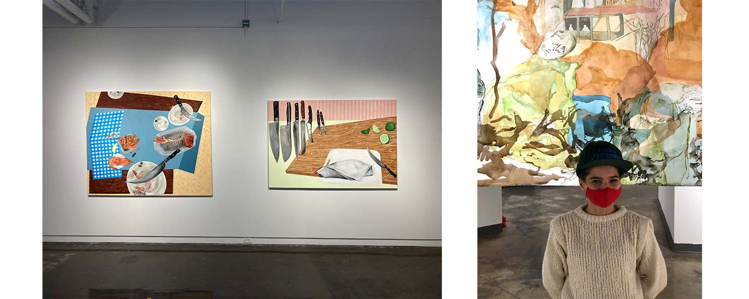 Two paintings by grad student Katie Butler and grad student Nino Tsiklauri in front of her painting on the right.