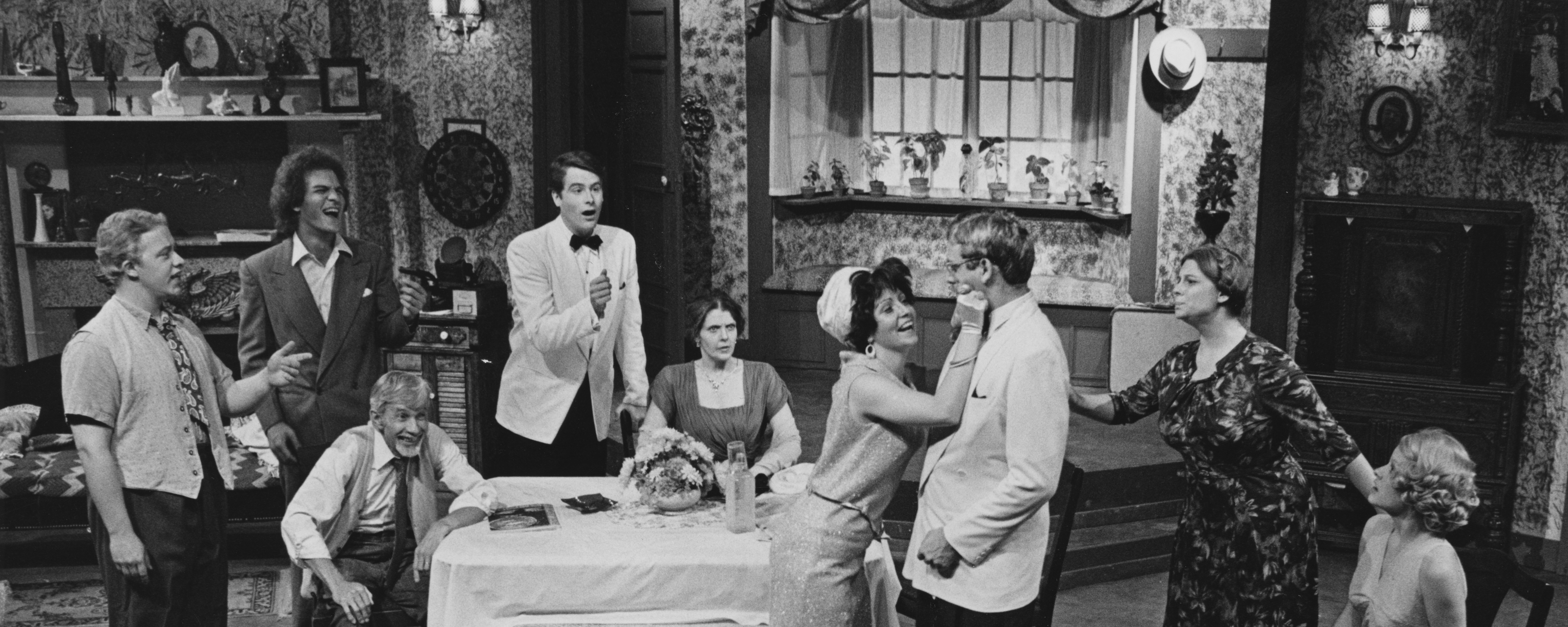 Actors perform in a scene from an early Porthouse Theatre production