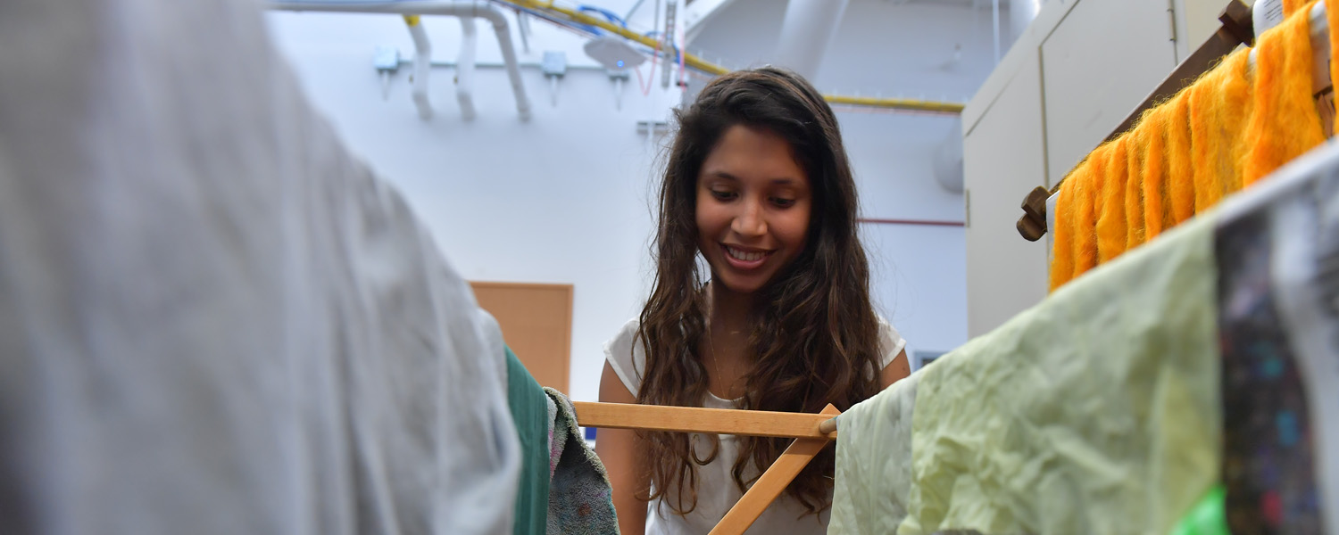Textiles Studio with student working