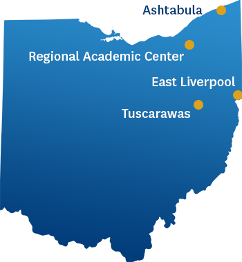 A map of the different locations in Ohio where the ADN program is offered