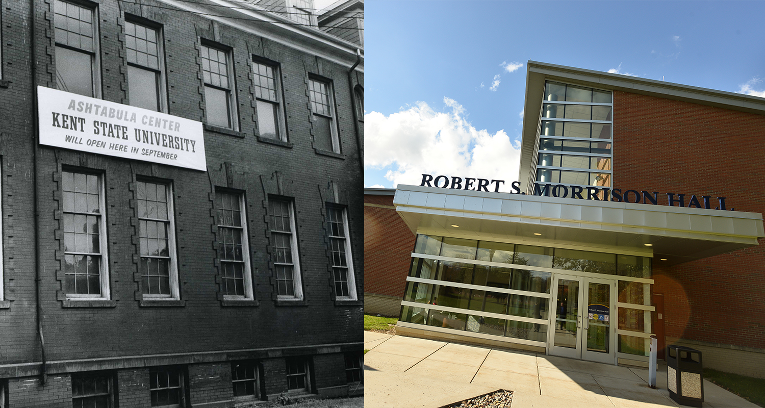Kent State Ashtabula Park Avenue Building in 1957 and Robert S. Morrison Hall in 2017