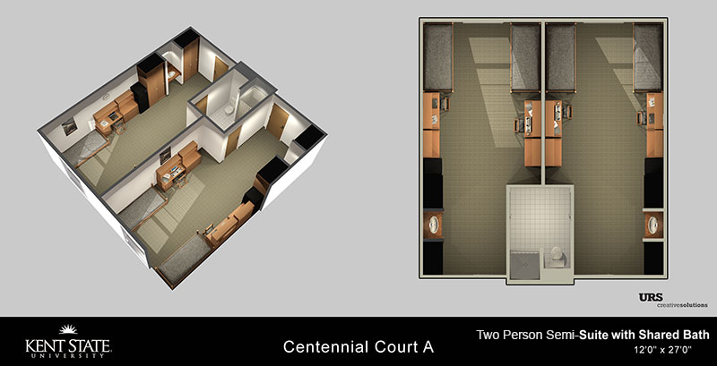 View the Centennial Court A Double with shared bath diagram in high resolution