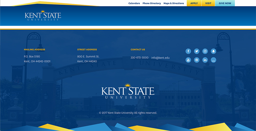 Kent State Header and Footer