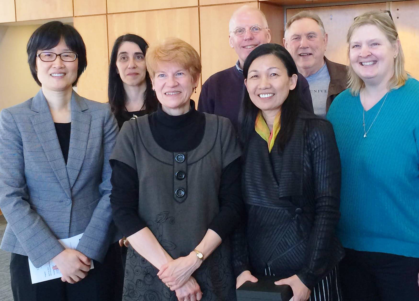Professor Marcia Lei Zeng, Ph.D. (second from right), was honored by Kent State University for Outstanding Research and Scholarship.