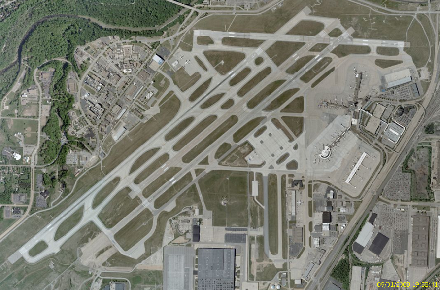 photo aerial view of Cleveland Hopkins Airport