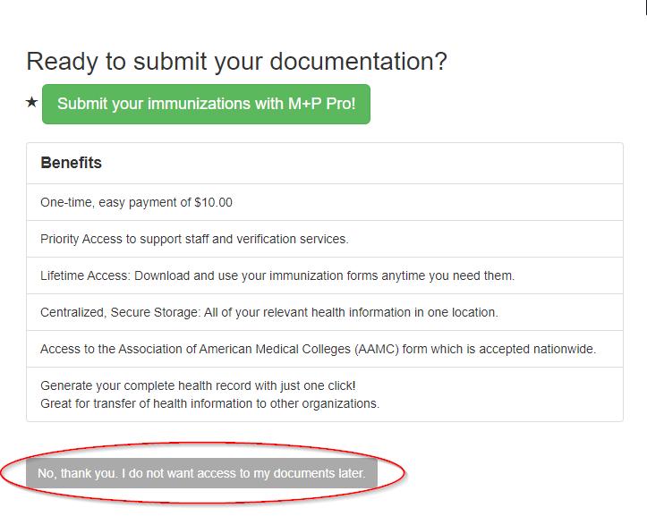 Med+Proctor, Proceed to Document Upload, Skip Med+Proctor Pro Membership