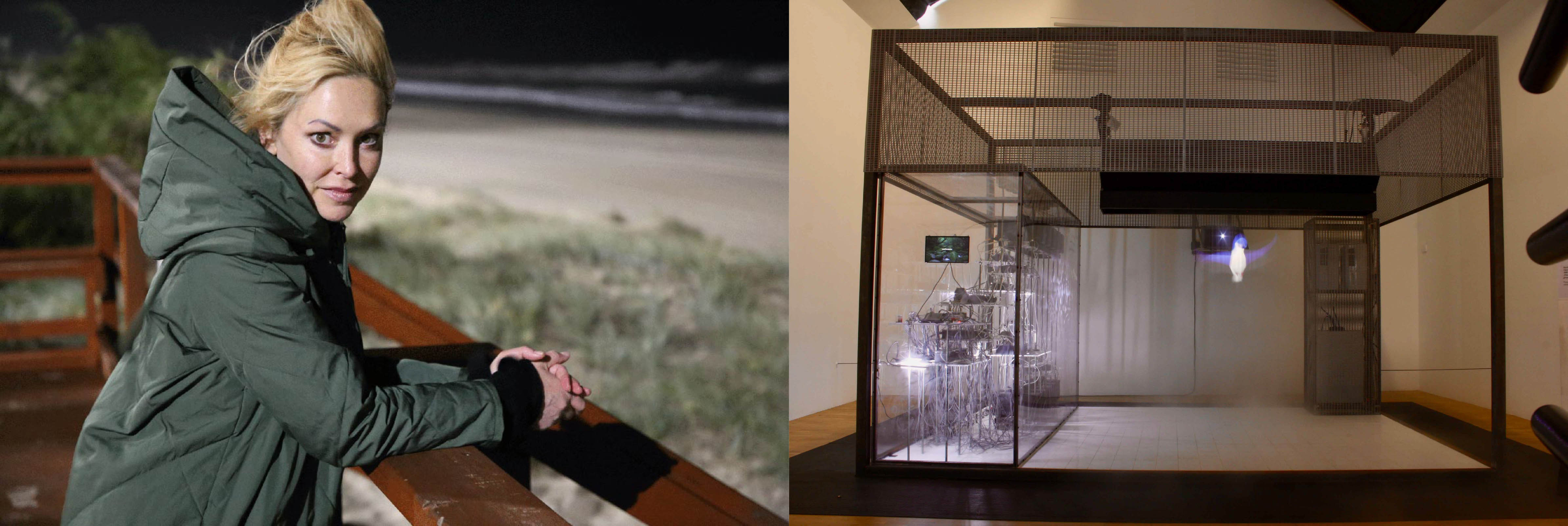 Professor Rachel Armstrong at the beach on the left with a picture of her exhibit on the right