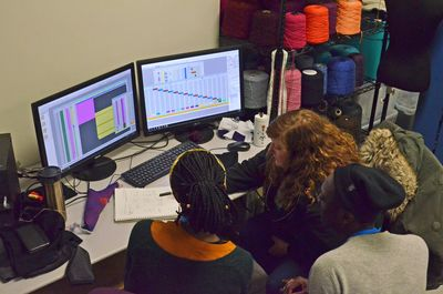 Graduate students work with representative from knit company  Evolution St. Louis
