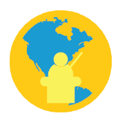 Graphic of a person at a desk in front of a blue and gold globe