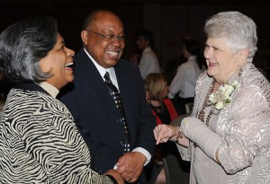 Kent State University College of Nursing Dean Barbara Broome (left) and her husband, Howard, share a laugh with Barbara Donaho at the Eighth Annual Barbara Donaho Distinguished Leadership in Learning Awards Dinner held at the Kent Student Center Ballroom on March 22.