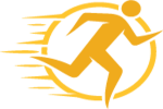 Graphic of a gold runner surrounded by a gold circle