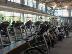 Treadmills line the bottom floor of the Student Recreation and Wellness Center