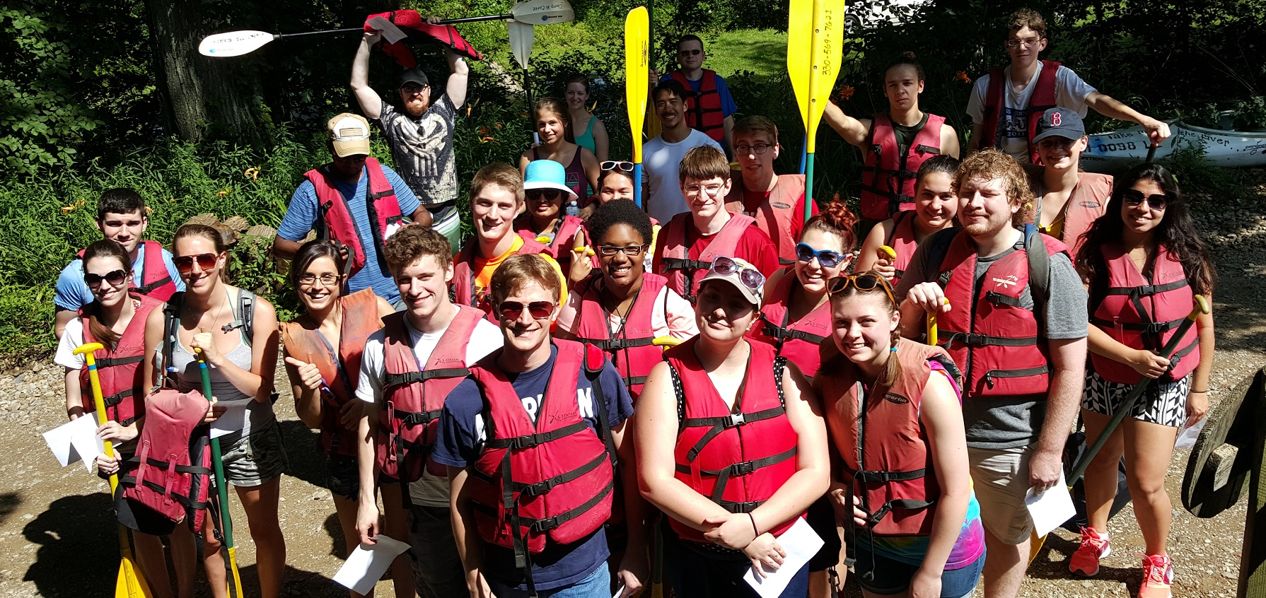 REU participants attend a canoe trip