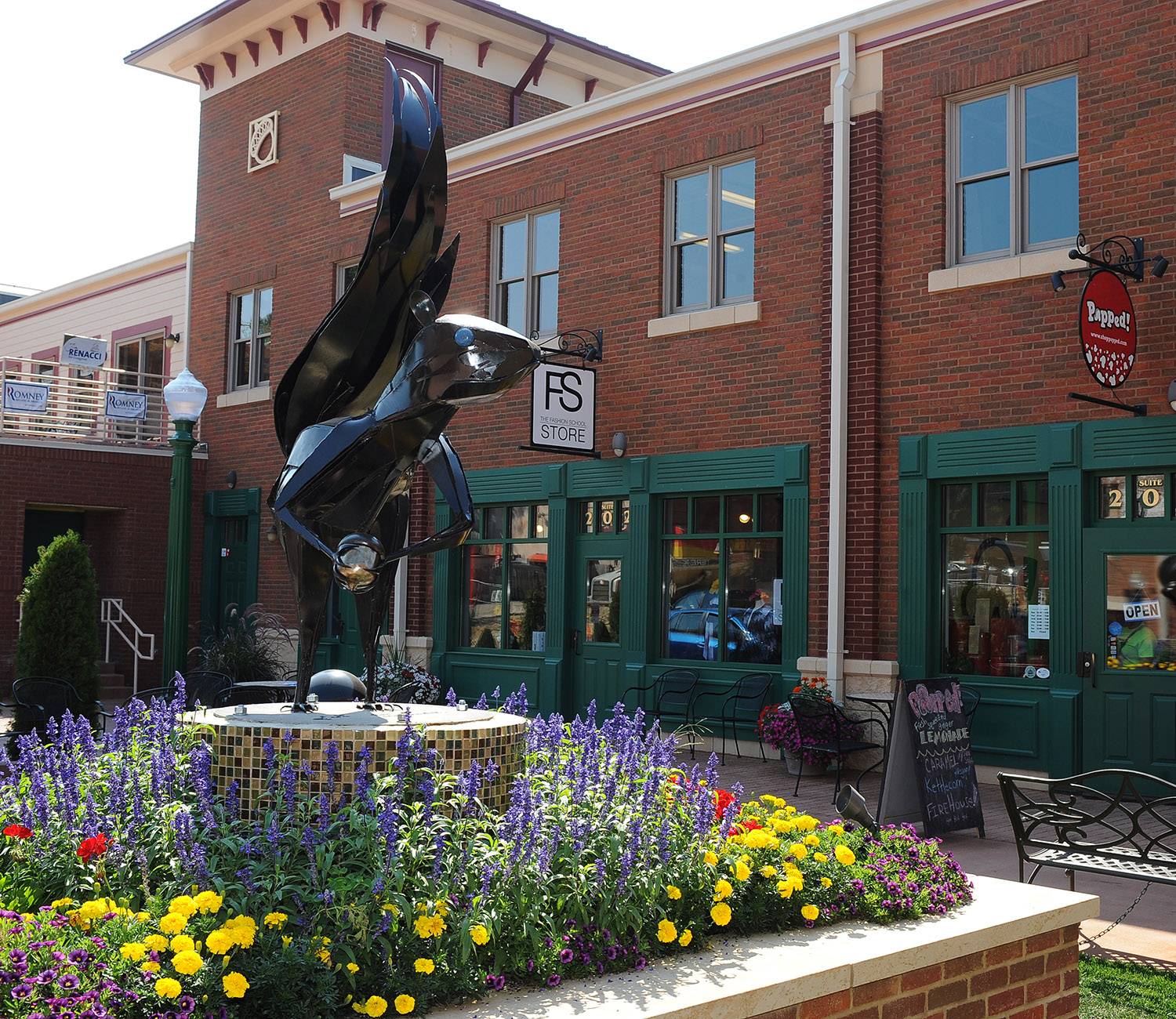A squirrel statue in downtown Kent.