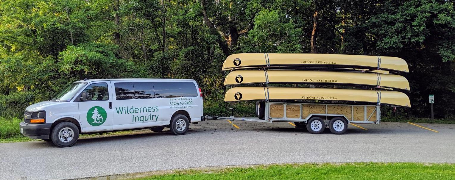 Van carrying kayaks from RPTM internshiip