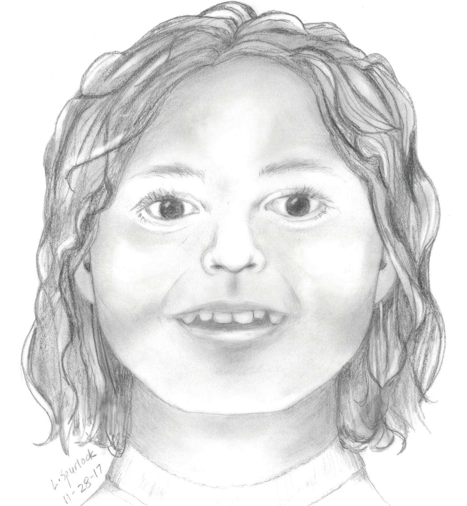 Photo of a sketch created by Linda Spurlock using forensic facial reconstruction.