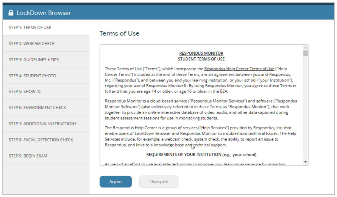 Screenshot of the Respondus Monitor terms of use