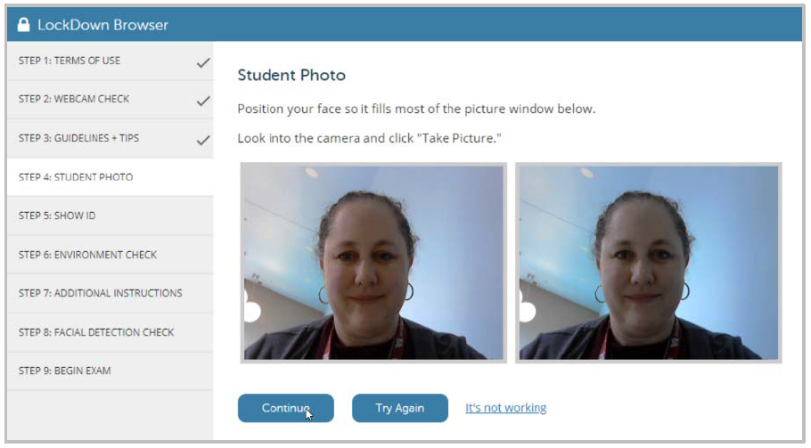 Screenshot of the student photo screen