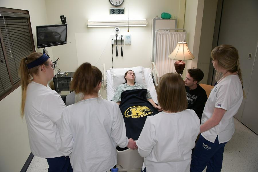 Photo from spring 2019 end-of-life simulation with the College of Nursing