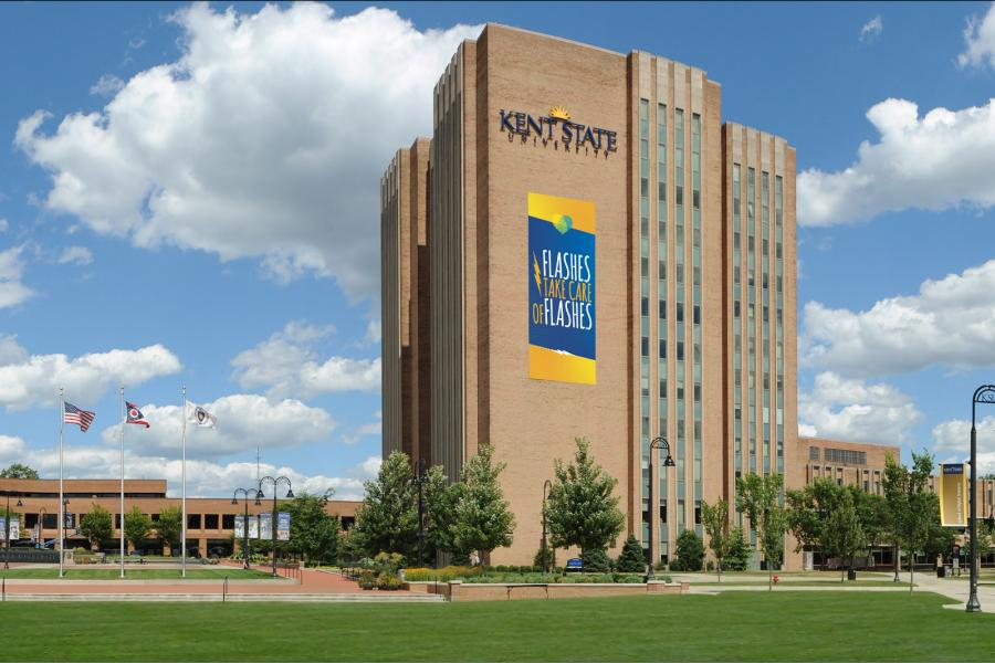 Photo of exterior of Kent State Library on a sunny summer day