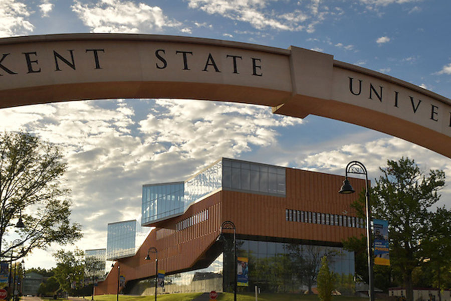 Kent State University archway on the esplanade with architecture building in the background